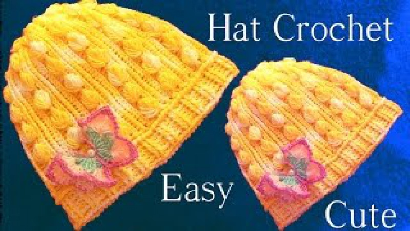 Aprende como tejer a Crochet gorro con hojas miniaturas en alto relieve - How to Crochet