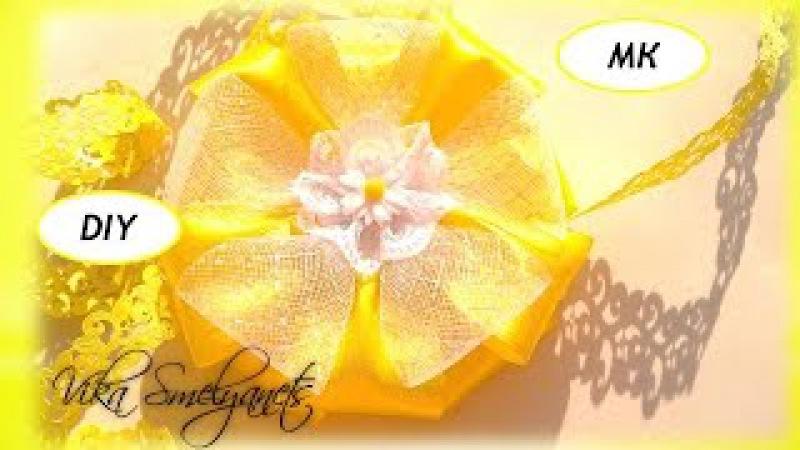 Заколка ромашка с регилина и лент/Воздушный цветок/МК|DIY/hairpins air flower