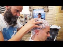 Old School Italian Barber Head shave with shavette hot towel and massage ASMR intentional
