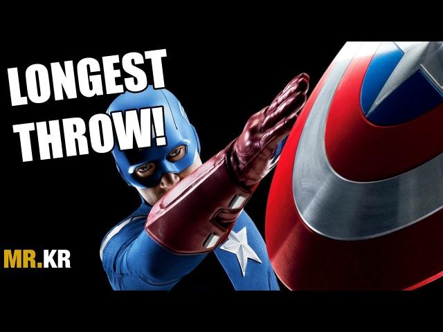 Капитан Америка. Самый долгий бросок щита. Captain America's Longest Shield Throw!