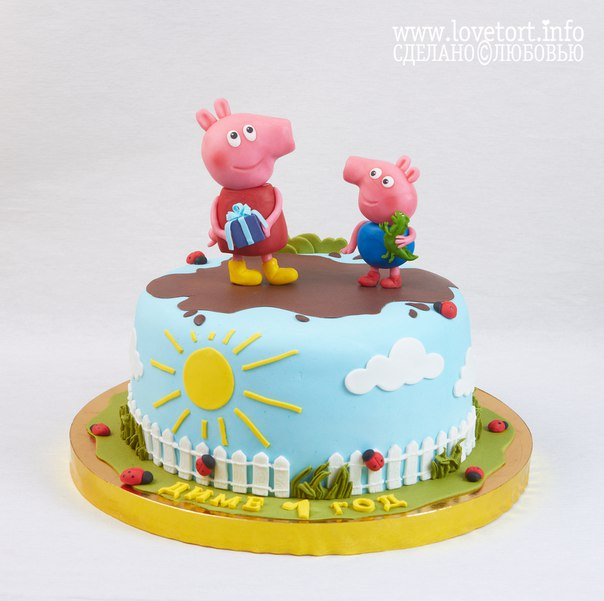 """Торт """"Свинка Пеппа и Джордж"""", 2,5 кг cake"""
