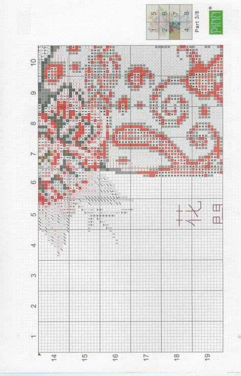 схема вышивки крестиком пионы