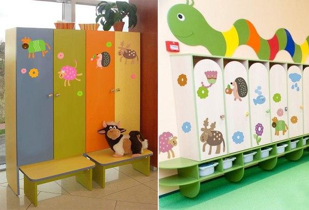фото оформления раздевалки детского сада дизайнерскими наклейками веселые звери