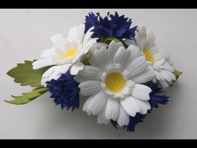 Заколка из фоамирана Полевые цветы Часть 2 Василёк