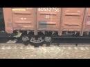 Гонка пассажирского и грузового поездов. Вид из окна поезда на стук колес по стыку рельсов