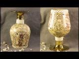 #28 Декупаж бутылок декупаж на стекле для начинающих мастер класс старинная бутылка битум патина