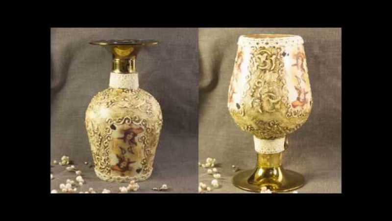 28 Декупаж бутылок декупаж на стекле для начинающих мастер класс старинная бутылка битум патина