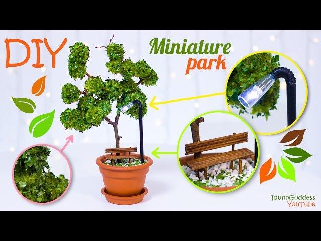 DIY Miniature Park In A Flower Pot – How To Make Miniature Tree, Street Light, Bench