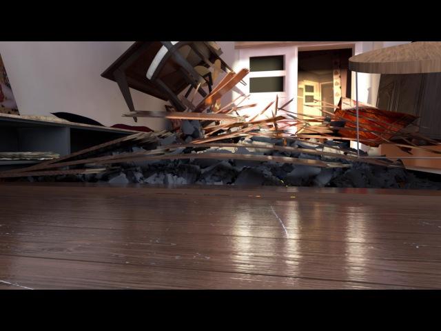 Quicksilver exploding floor VFX Breakdown Cinema 4d after effects