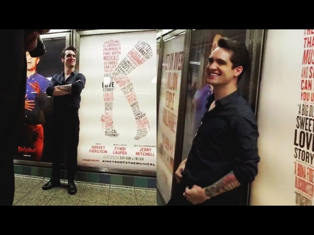 Brendon Urie struts through the KinkyBoots-bedazzled station! | KinkyBootsBway
