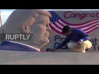 India: It's a shore thing now - Trump sand sculpture draws crowd at Puri Beach