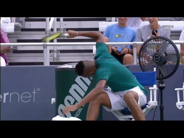 Nick Kyrgios Triple Racquet Smash at Western Southern Open Cincinnati NickKyrgios CincyTennis