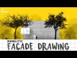 Facade Drawing in Photoshop Minimalistic Style