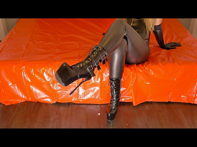 PrincessWalks First Talk Platform Boots On Red Bed Blonde Goddess In Heels Leather And Latex