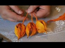 Dekoracja jesienna z papierowej wstążki do kwiatów lub bibuły - kwiat miechunki