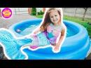 РУСАЛКА едет купаться в БАССЕЙН the mermaid in pool КУПАЕМ НАШИХ СОБАК в бассейне