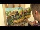 Деревенский дворик. Урок на двух холстах. Oil painting