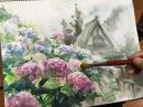 水彩画の基本〜あじさいを描くコツ 3分講座 How to draw Hydrangea | 3MIN Watercolor Tips