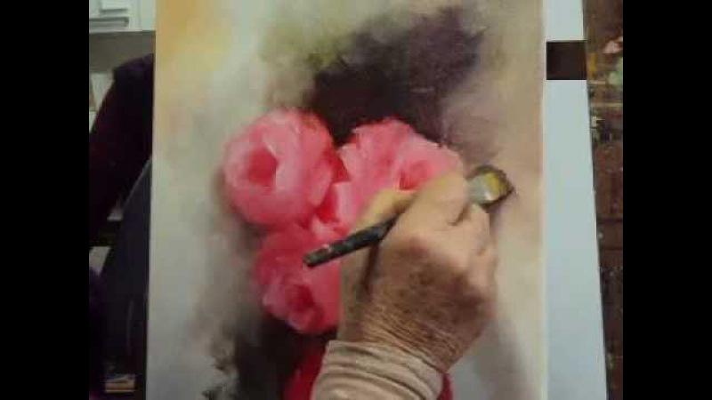 Pintura de rosas em tela (1ª parte)