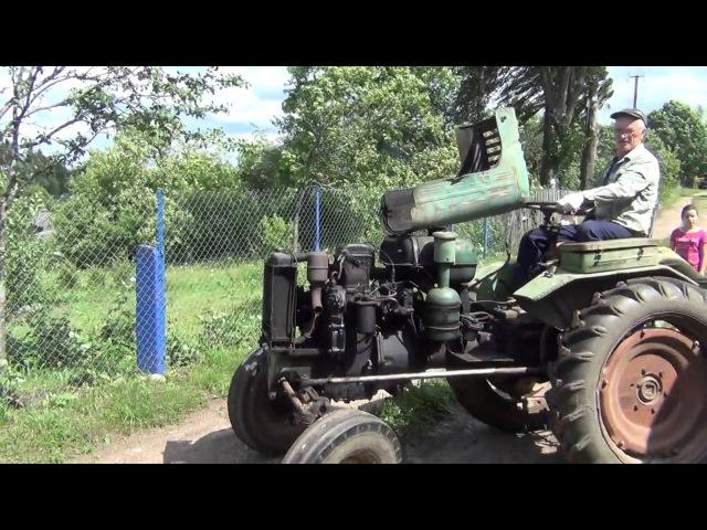 Заводим раритетный трактор ДТ-20 с толкача,обзор