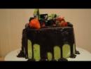 Торт  с трактором и ягодами.