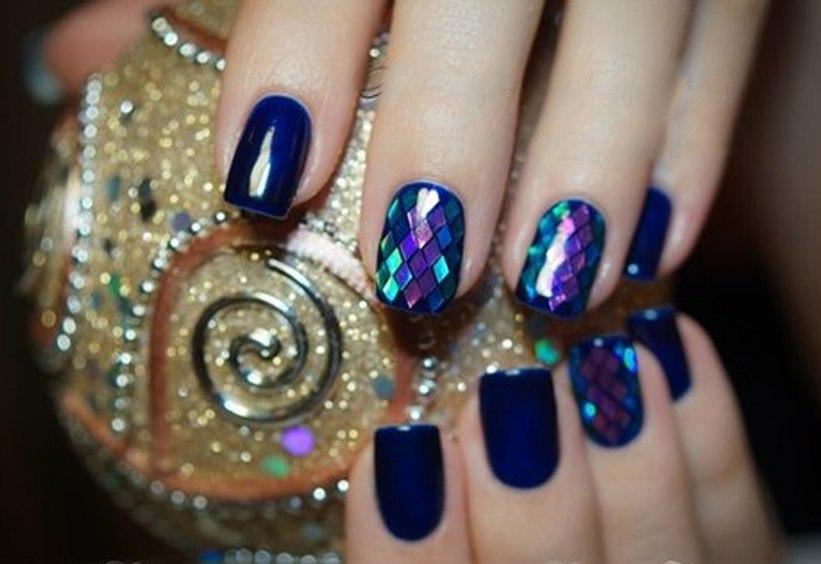 Дизайн ногтей с ромбиками блестками фото