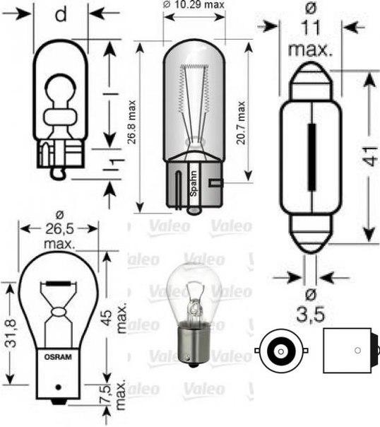 Лампа накаливания, фонарь освещения номерного знака для ALFA ROMEO BRERA