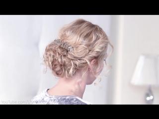 Праздничная причёска на Новый Год ❤ Пучок из локонов для средних_длинных волос