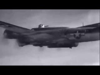 Boeing B 17 Bomber Drops Disney Swish Rocket Booster Bomb WW2 Footage