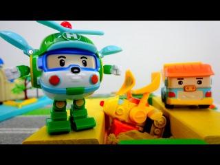 Robocar Poli - Pelleto est tombé dans le béton!!! Vidéo éducative