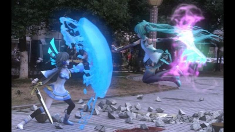 Страшно до слез! Luo Tianyi сражается с Hatsune Miku