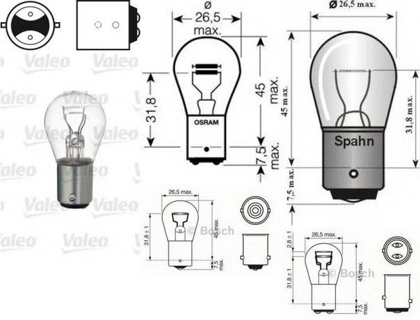 Лампа накаливания, фонарь сигнала торможения; Лампа накаливания, задняя противотуманная фара; Лампа накаливания для AUDI V8 (44_, 4C_)