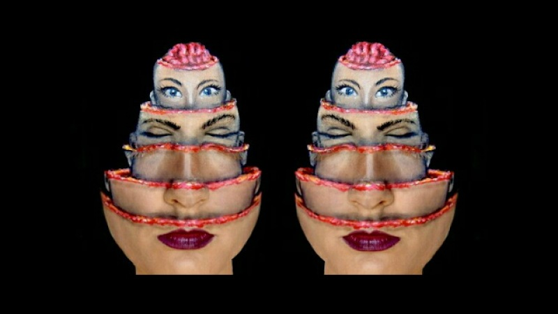 Russian Doll Head illusion makeup