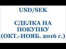 USD/SEK - СДЕЛКА НА ПОКУПКУ (РЕАЛЬНАЯ ТОРГОВЛЯ - ФОРЕКС)