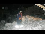 Опубликовано видео с места обрушения конного клуба в Новосибирской области