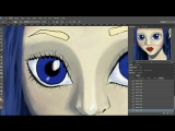 Colouring girl with blue eyes.