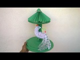 How to make peacock with paper quilling  3d origami Showpiece