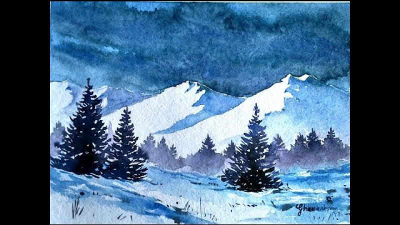 Snowy Blue Mountains with Watercolor | paint with david