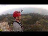 Прыжок с веревкой роупджампинг со скалы в Крыму, Шаан-Кая команда X-Sport