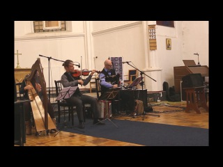 Анатолий Исаев (волынка), Владимир Волков (Скрипка) и Катерина Московскова (Арфа)