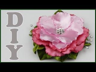 DIY Kanzashi | Blume aus Satinband basteln | make Ribbon flower with leaves and stamens
