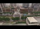 Китай Искусство движения Бронзовый бамбуковый фасад самых последних ориентиров Шанхая