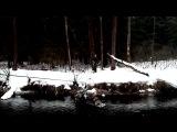 Переправа снегохода через речку на альпинистской веревке, полиспаст