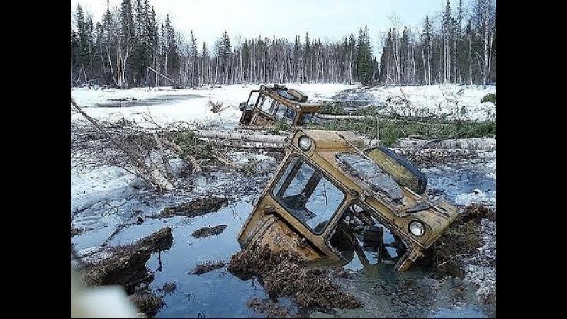 по бездорожью зимой на тракторах и вездеходах работа геологоразведчиков на севере России