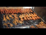 Street Food Cambodian food Style in Rural Area, grilled frog, grilled pork, grilled Beef Hot Dogs