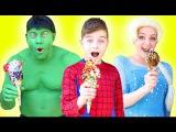 Frozen Elsa Spider Kid Hulk CANDY ICE CREAM CHALLENGE! Joker pranks w Spiderman M&ampMs candy man IRL