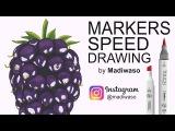 Как нарисовать ежевику маркерами Copic и Touch  How to draw blackberry with markers Copic, Touch