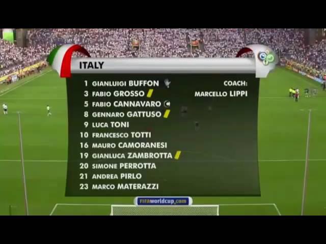 ITALY GERMANY 2 0 FIFA WORLD CUP 2006 SEMI FINAL