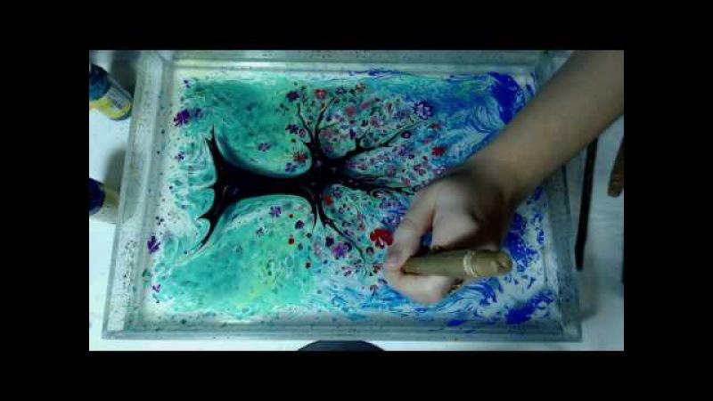Рисование красками на воде, турецкая техника Эбру.