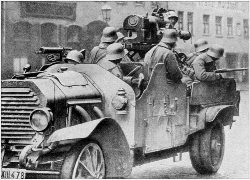Колесная САУ фрайкора. Мюнхен 1919.